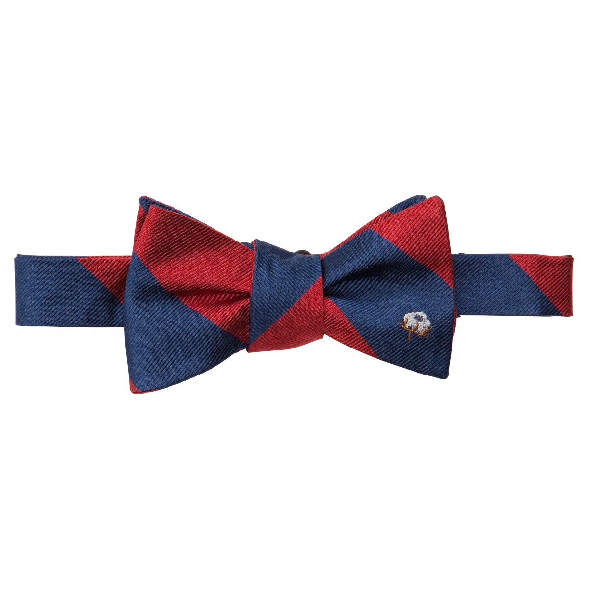Cotton Boll Bow: Red & Navy
